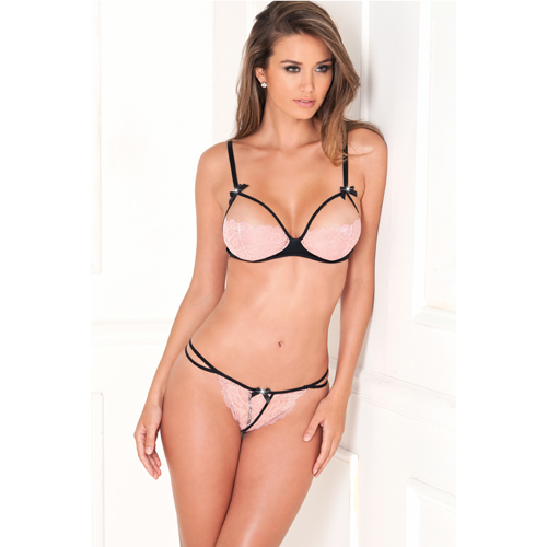 2PC Bra Set w. Shiny Hearts Pink