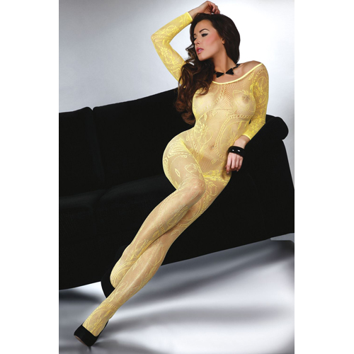 Abra Catsuit with Open Crotch - Yellow