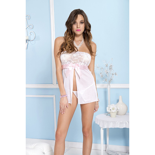 Babydoll with bow - white/pink