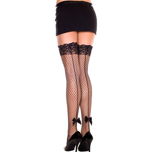 Backseam silicone lace top with satin bow spandex thigh hi BLACK