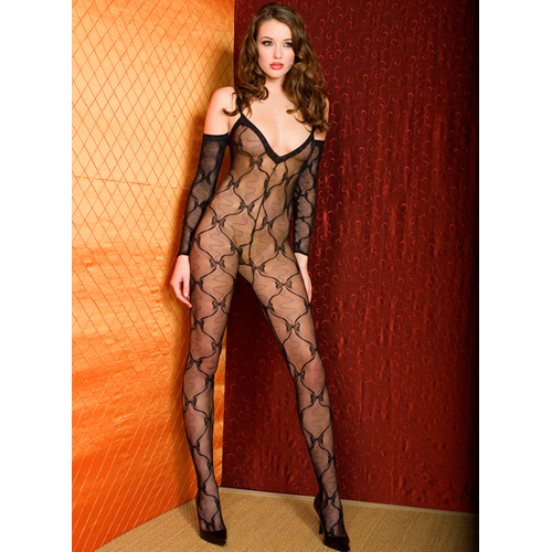 Bow lace bodystocking with sleeves
