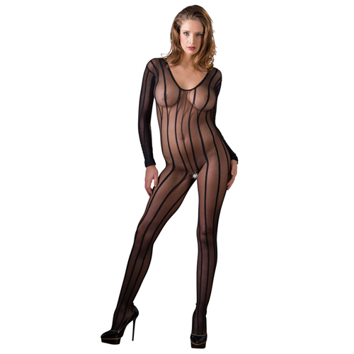 Crotchless Striped Catsuit With Long Sleeves