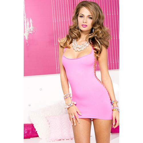 Cut Away Mini Dress - Pink