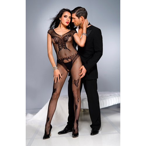 Fishnet catsuit with butterfly design-BLACK