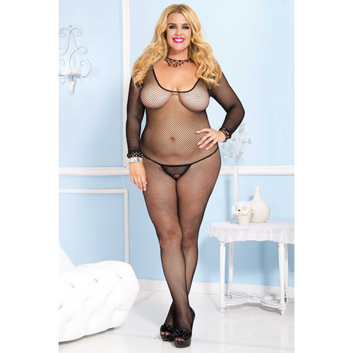 505ac490198 Fishnet crotchless bodystocking with long sleeves - Rabbit ...