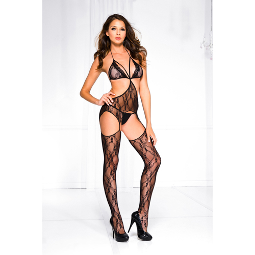 Floral lace halter strap bodystocking BLACK