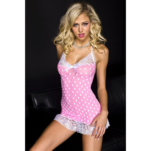 Mini Dress With Lace And Polka Dots - Pink