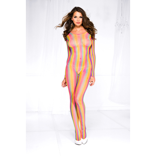 Rainbow fishnet striped crotchless bodystocking RAINBOW