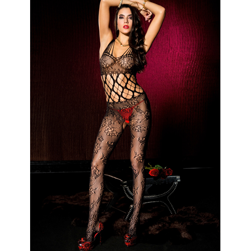 Shredded strap floral lace crotchless bodystocking