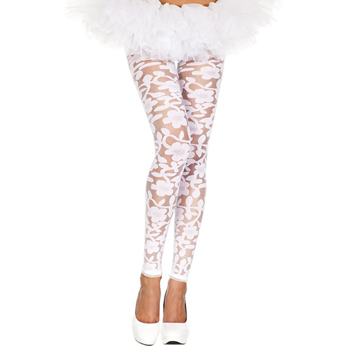 Transparent Leggings With Floral Design - White