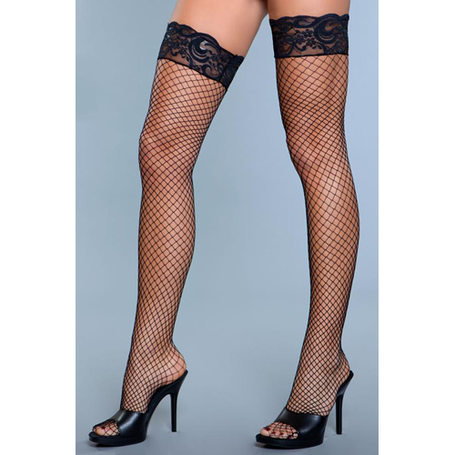 Amber Fishnet Stockings With Lace - Black