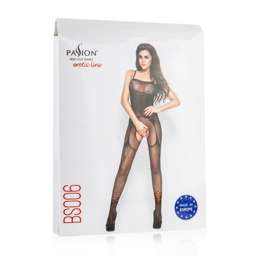 Black Mesh Bodystockings With Suspender Design2