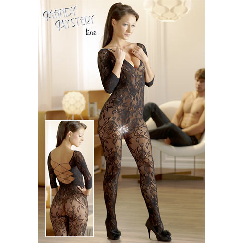 Catsuit made of black floral lace2