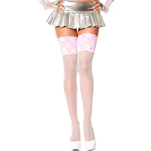 Classic Stockings With Wide Lace Top - Pink