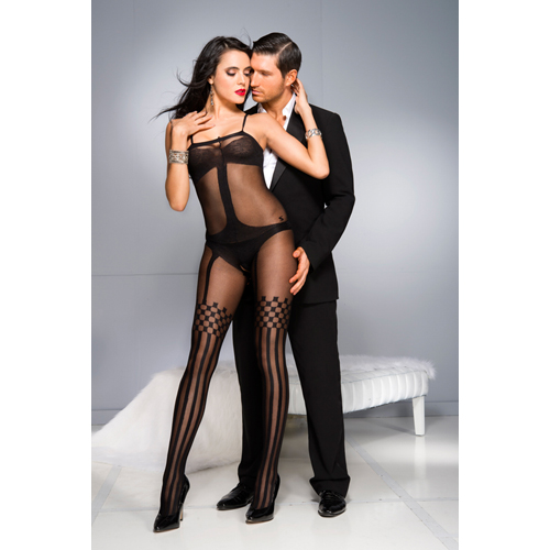 Crotchless Bodystocking With Stockings Design