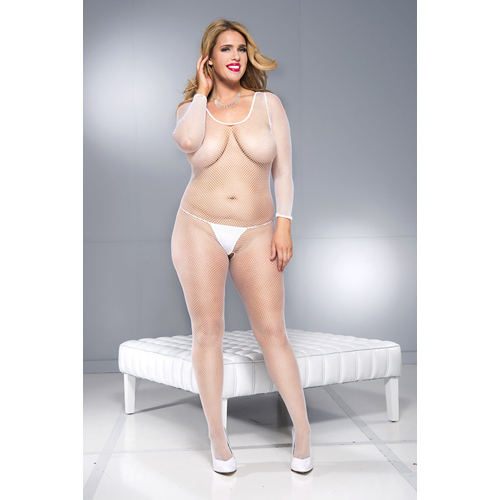 Crotchless bodystocking with long sleeves and open back