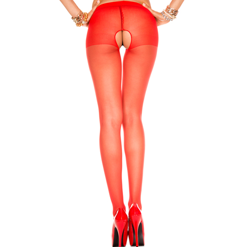 Crotchless red tights - Musiclegs