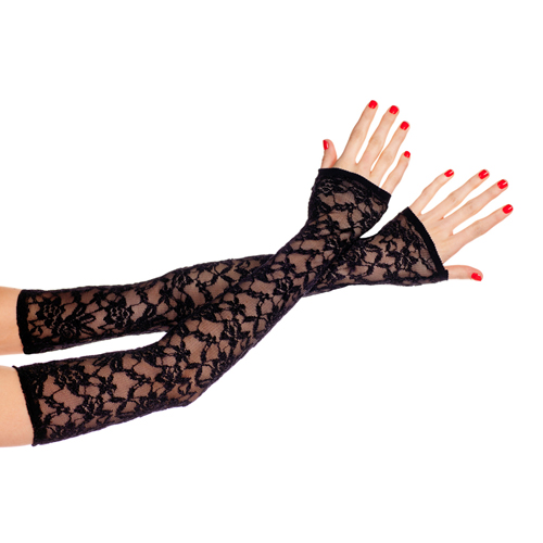Extra long fingerless lace gloves BLACK