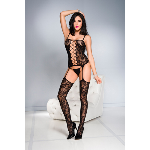 Floral front cut out garter bodystocking BLAC
