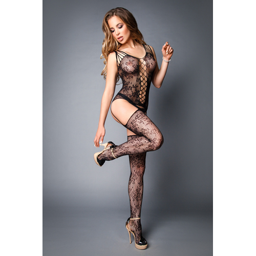Garter Bodystocking With Floral Pattern