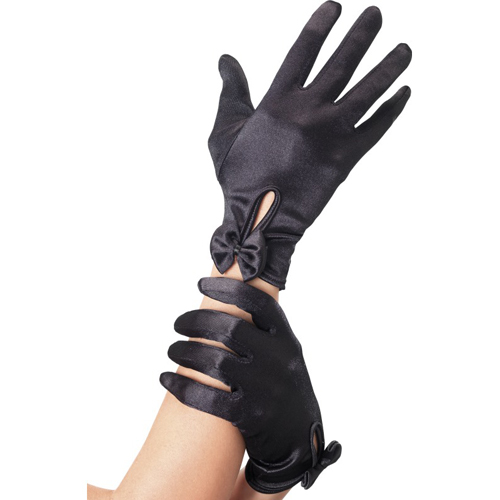 Gloves With Bow - Black