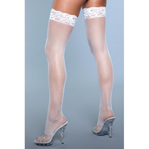 Kiss Goodnight Thigh High Stockings - White