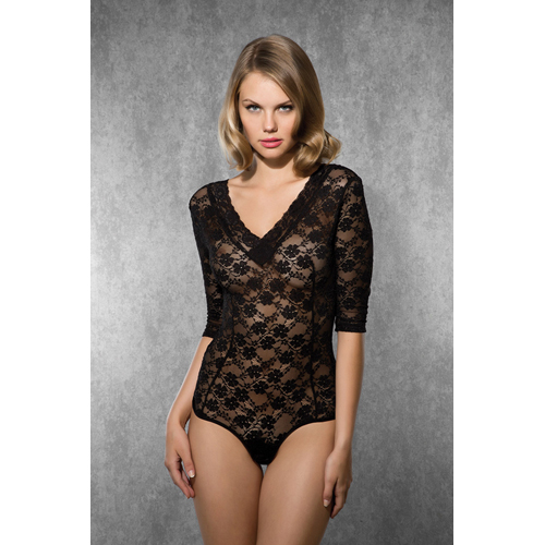 Lace Body with V-Neck - Black