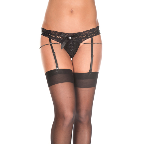 Lace thong with attached garters and faux rhinestones BLACK