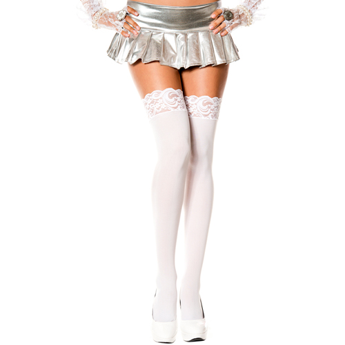 Lace top opaque thigh hi WHITE