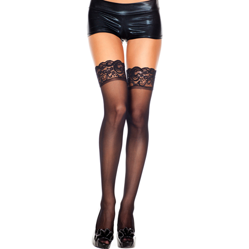 Lace top sheer thigh hi BLACK