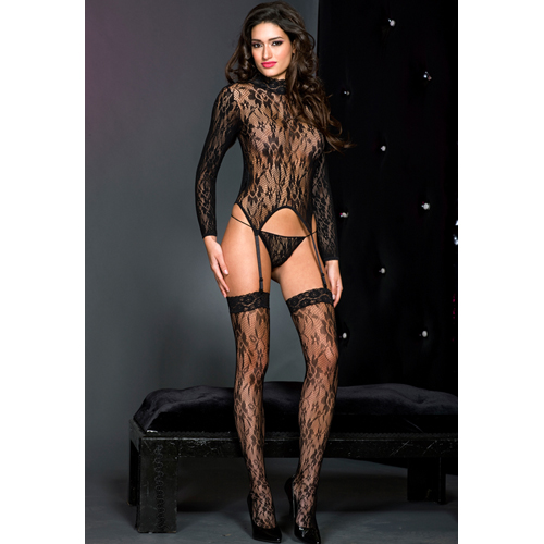 Lace turtle neck cami garter with matching thigh hi BLACK