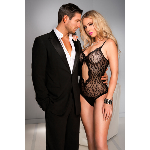 Leopard fishnet teddy with front cut out BLACK
