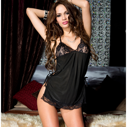 Mesh with lace trim with side strings and strappy back BLACK