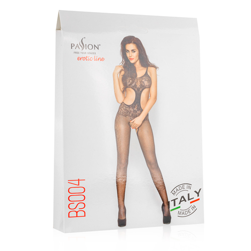 Net Bodystocking With Open Crotch - Black2