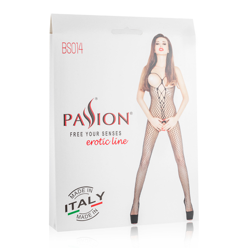 Net Catsuit With Open Cups - Black3
