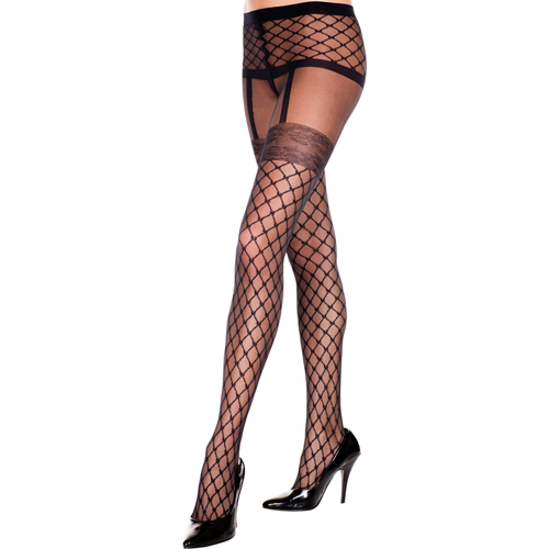 Pantyhose with fishnet garter look