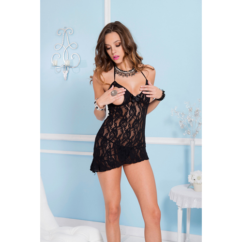 Peek-a-boo floral lace mini dress BLACK