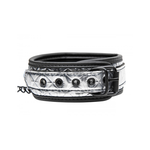 Platinum Bound Chained Collar with Leash2