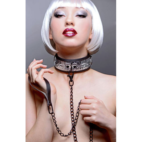 Platinum Bound Chained Collar with Leash3