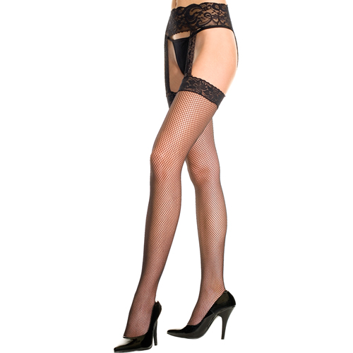 Plus size lace garter set with fishnet stockings