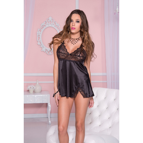 Satin mini dress with lace top and bows BLACK