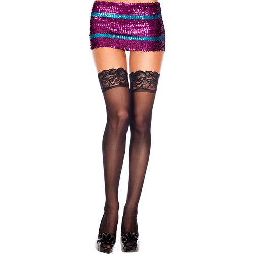 Silicone lace top spandex sheer thigh hi BLACK