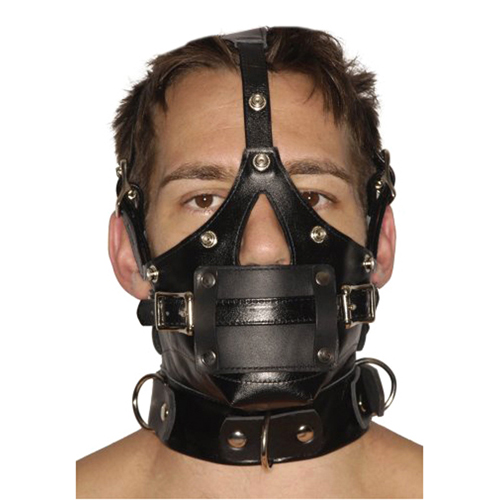 Strict Leather Premium Muzzle with Blindfold and Gags2