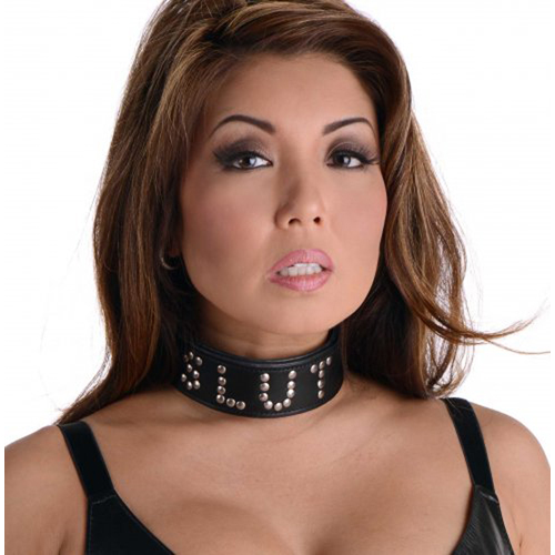 Studded Leather Slut Collar4
