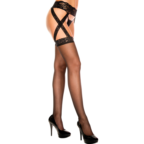 Suspender Belt With Attached Stockings - Black