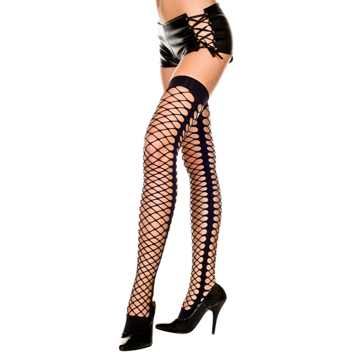 Thick thigh high stockings with side seam BLACK