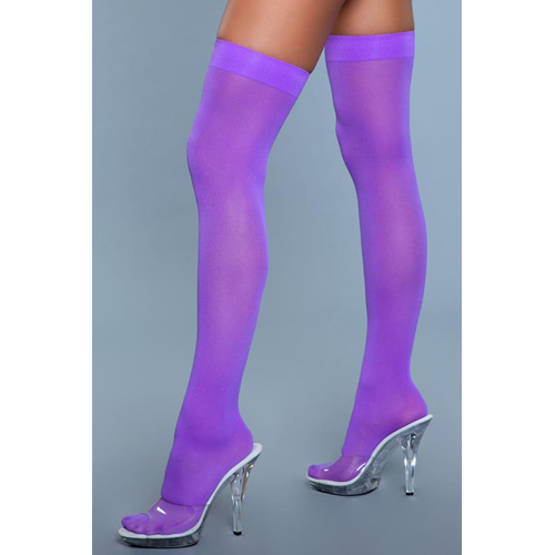 Thigh High Nylon Stockings - Purple