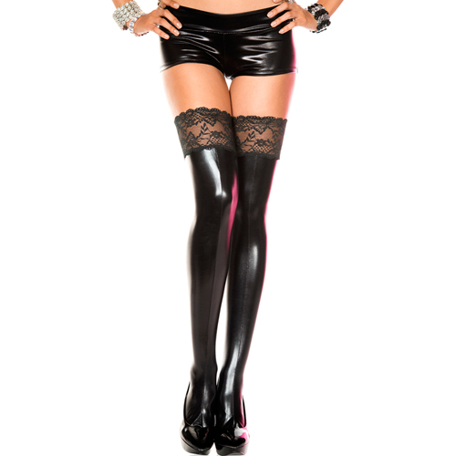 Wetlook stockings with lace top